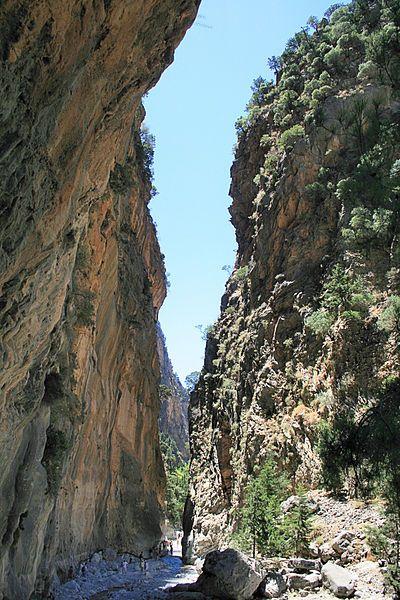 Samaria Gorge Самари́йское уще́лье, также национальный парк Лефка-Ори (греч. Φαράγγι Σαμαριάς) — крупнейшее ущелье в Европе, расположено на юго-западной оконечности острова Крит в номе Ханья. Одна из наиболее известных достопримечательностей Крита. Длина ущелья около 18 километров, а ширина колеблется от 3,5 до 300 метров. Название ущелье получило от деревни Самария, которая в свою очередь названа в честь церкви Осиас-Марьяс (греч. Οσίας Μαρίας).
