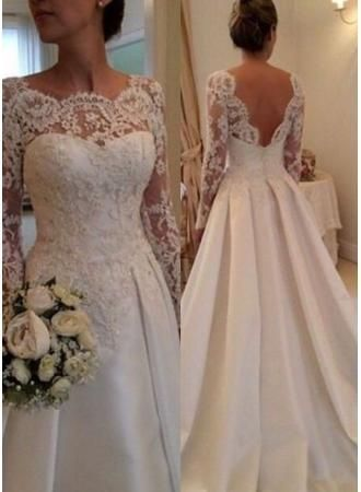 USD$194.67 - Elegant Illusion Long Sleeve Wedding Dress With Lace Appliques - www.27dress.com