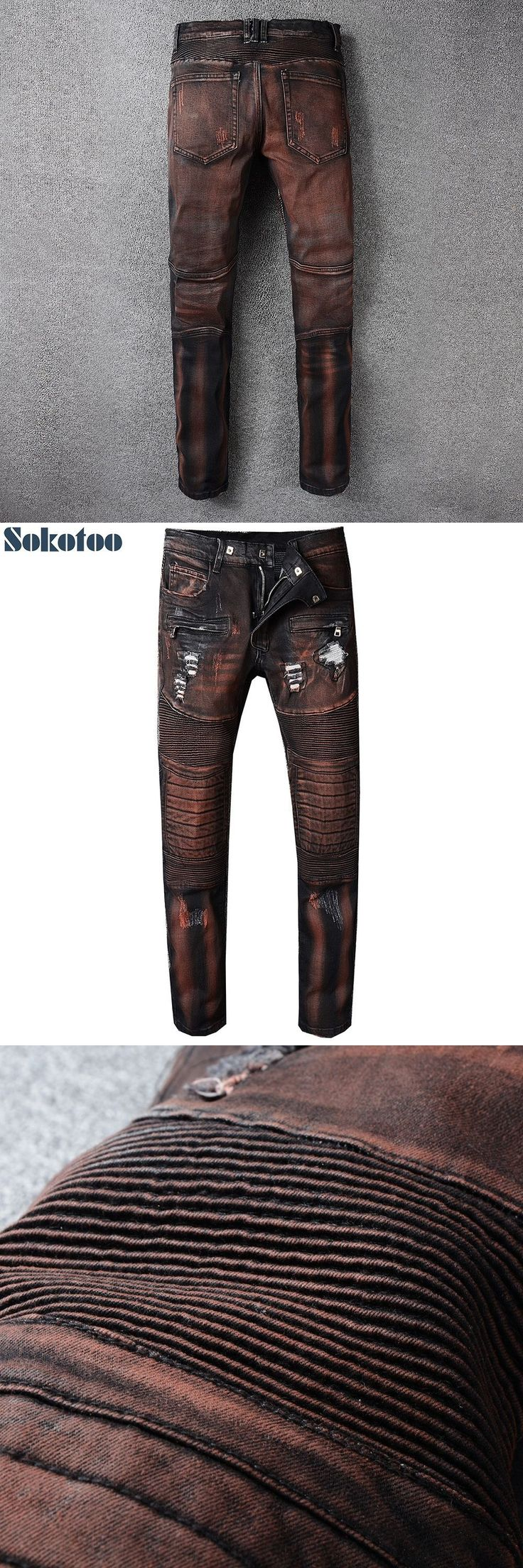 Sokotoo Men's pleated holes ripped biker jeans for motorcycle Slim fit stretch cotton denim pants