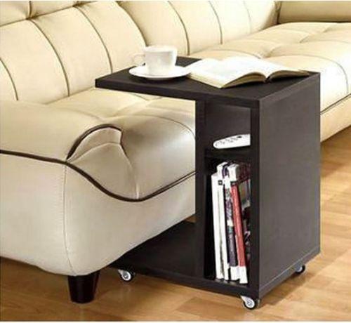 Rolling-Side-Laptop-Bedside-Table-Storage-Shelf-on-Wheels-Black-Oak-White
