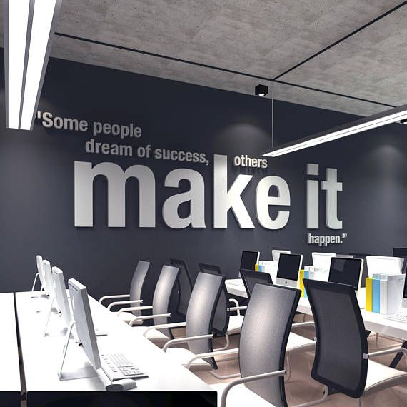 Make It Happen 3d Office Wall Art Pvc Typography Decor Inspirational Motivational Work Sucess Decals Stickers Sku Omih In 2021 Office Wall Design Corporate Office Design Small Office Design Workspaces