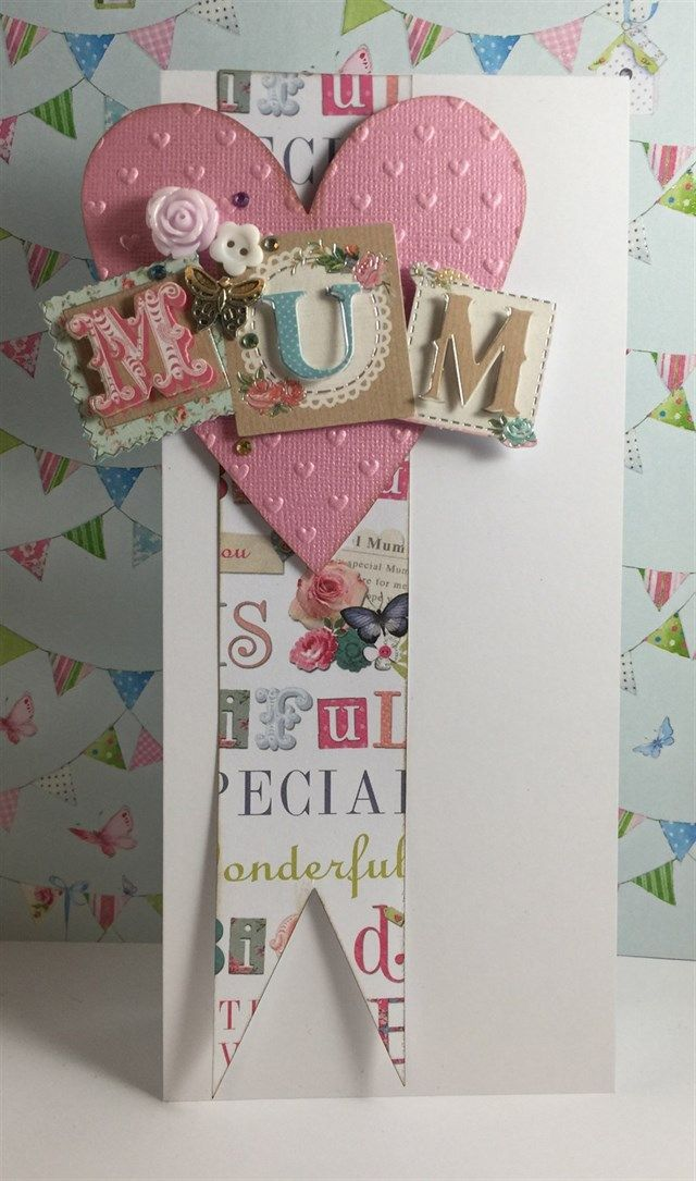Handmade 'Mum' card - perfect for Mother's Day or birthday! Made using the Papermania Bellissima Collection.