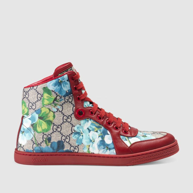 GG Blooms High-Top Sneaker, Gucci sneakers, shoes.