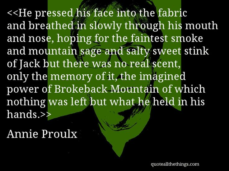He pressed his face into the fabric and breathed in slowly through his mouth and nose, hoping for the faintest smoke and mountain sage and salty sweet stink of Jack but there was no real scent, only the memory of it, the imagined power of Brokeback Mountain of which nothing was left but what he held in his hands.-- Annie Proulx