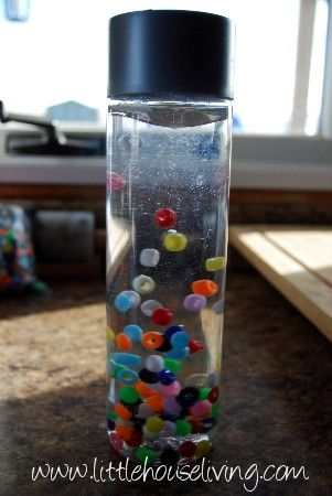 Cheap baby sensory bottle toy #frugal #baby #diy