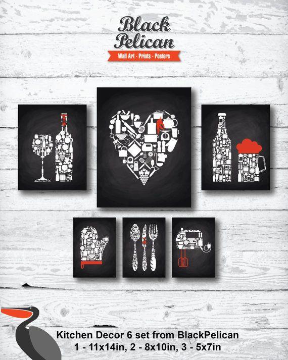 6 SET Red White On Chalkboard Background Kitchen Decor   Kitchen Wall Art    Kitchen Prints   Kitchen Art   Kitchen Art Set   Kitchen Poster