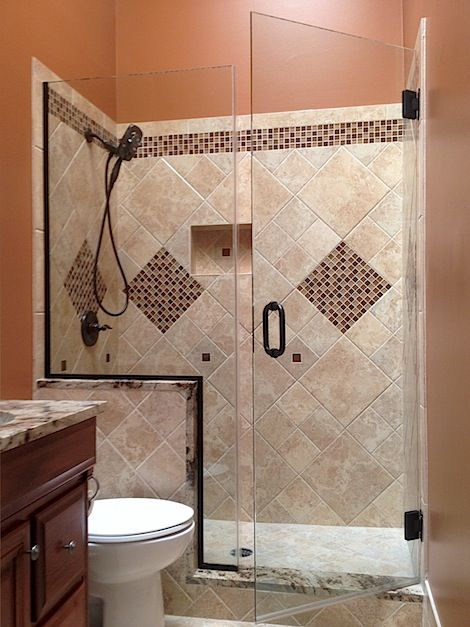 Pin by kathy deshong on for the home pinterest for Half wall shower glass