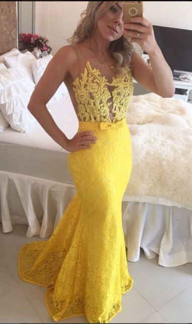 $139-Sexy Lace Mermaid Evening Gowns Sweep Train Prom Dresses with Bow