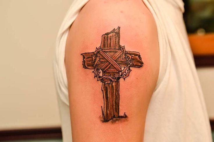 Best 25 wooden cross tattoos ideas on pinterest men 39 s for Old rugged cross tattoo designs