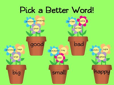 """Bulletin Board Idea - I bought some sparkly foam flowers at Goodwill  Carrie's Speech Corner: Spring-Time Synonyms (or, """"Pick a Better Word"""") FREEBIE"""