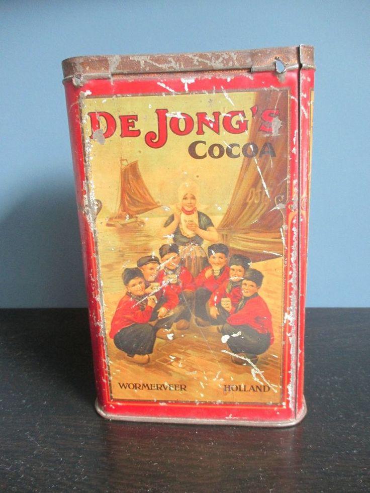 De Jong's Cacao Cocoa Vintage Tin Box Wormerveer Holland  #DeJongsCacao