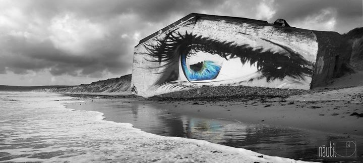 On the beach of Siouville-Hague, France (artwork by French artist Cece; image via nautil)