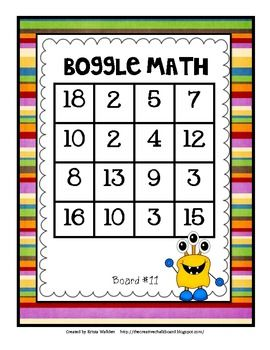 20 different math boards, perfect for differentiating! Two different levels- perfect for all learners because there are possibilities for basic addition, subtraction, multiplication, division and multiple operations all on the same boards. Great for early finishers, math centers, seat work, etc! $