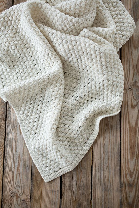 White Baby Blanket Baby Knitted Blanket Neutral Crib Bedding Swaddling Blanket Knit Throw New Parent Gift Godmother Gift Baby Gift Knitted Blankets Baby Knitting Knitted Throws