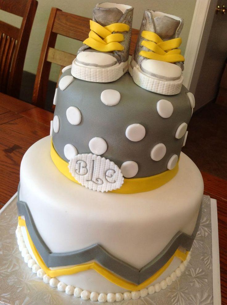 GRAY AND YELLOW BABY SHOWER   Plumeria Cake Studio: Gray and Yellow Baby Shower with Converse Shoes