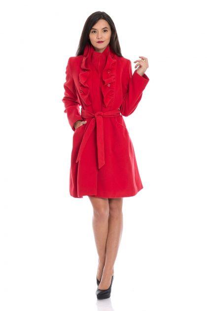 Palton rosu cu volane in fata