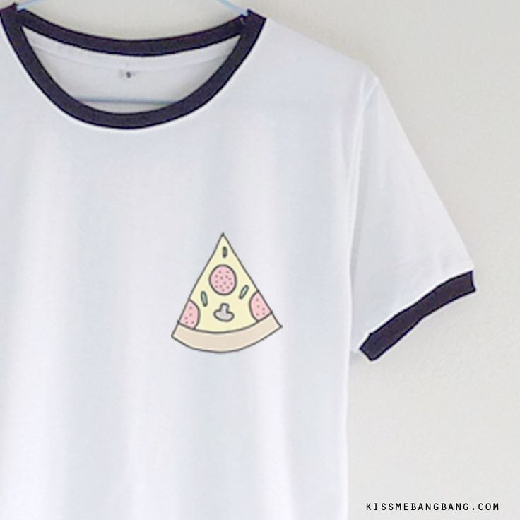 Pizza Emoji Ringer Tee | Kiss Me Bang Bang | Teen Top | Pizzalover | Cute Graphic T-shirt  KISSMEBANGBANG.COM
