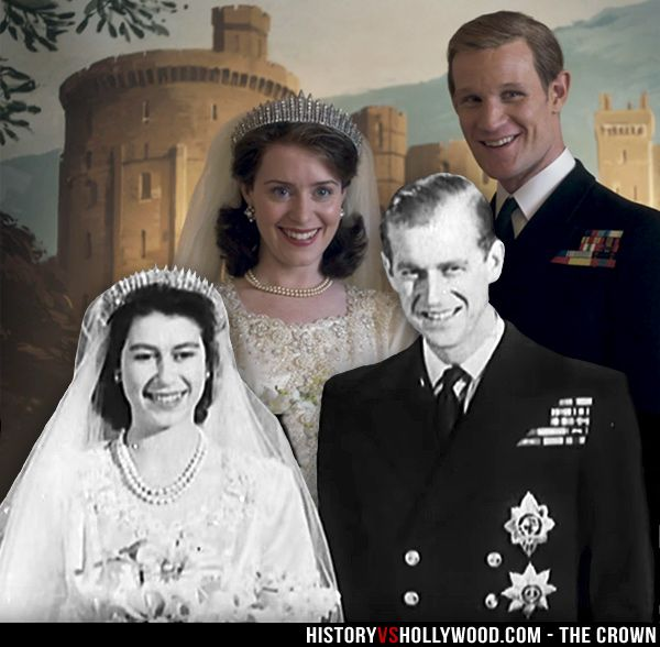 Queen Elizabeth and Prince Philip (front) and Claire Foy and Matt Smith in Netflix's The Crown (back). See pics of the cast vs. their real-life counterparts here: http://www.historyvshollywood.com/reelfaces/the-crown/