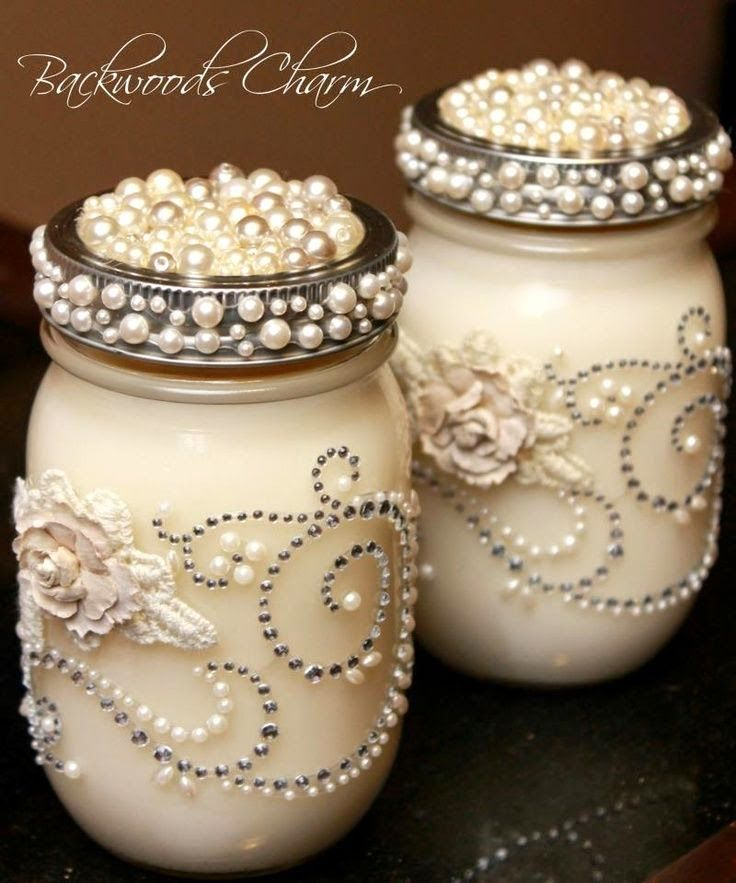 Shabby Chi Jars With Pearl Lids...