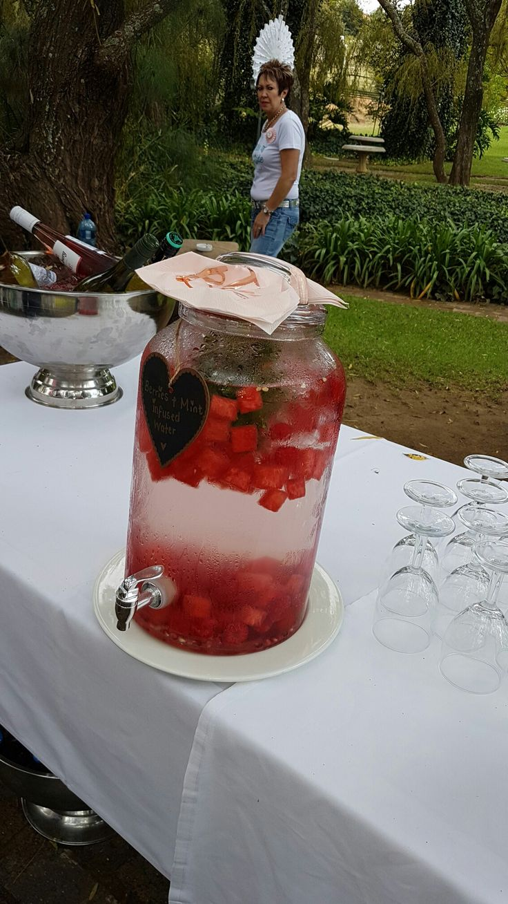 Watermelon, Pomegranate, Raspberries and mint infused water
