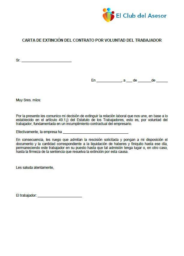 Carta de extinción contrato de trabajador
