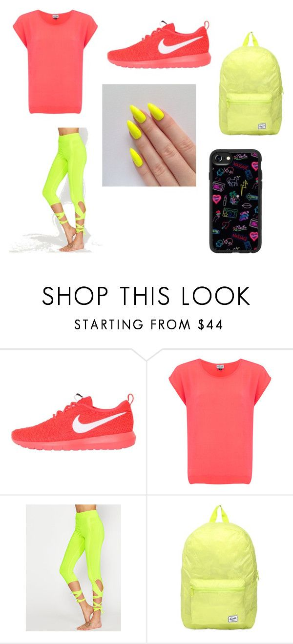 """Neon Pink and Yellow"" by emma-tumbles on Polyvore featuring NIKE, Mercy Delta, Herschel and Casetify"