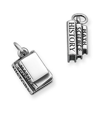 Celebrate a love for knowledge and education with this smartly crafted sterling silver charm depicting classic school books. #jamesavery