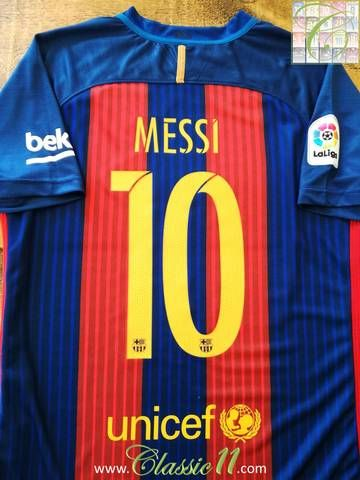 e63965960e6d Official Nike Barcelona home La Liga football shirt from the 2016 17 season.  Complete with Messi  10 on the back of the shirt and La Liga patch on the  ...