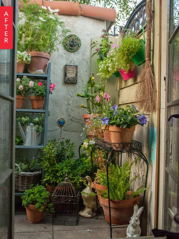 When Danielle's side yard was about to be paved over by management, she saved as many plants as she could. She then looked to her apartment's small, enclosed patio, transforming it into an outdoor oasis: