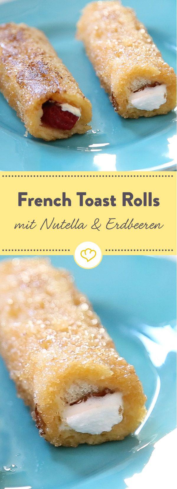 Die moderne Version des amerikanischen Klassikers: French Toast Rolls - mit einem Herz aus Frischkäse, Erdbeeren und Nutella. Und einem Zuckermantel.