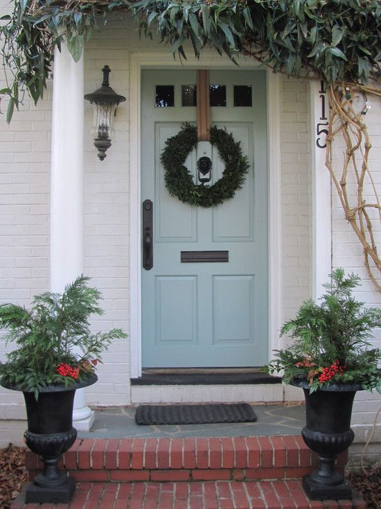 Painted Brick Design, Pictures, Remodel, Decor and Ideas - page 27: The Doors, Idea, Front Doors Colors, Christmas Front Doors, Blue Doors, Doors Decor, Blue Front Doors, House, Front Porches