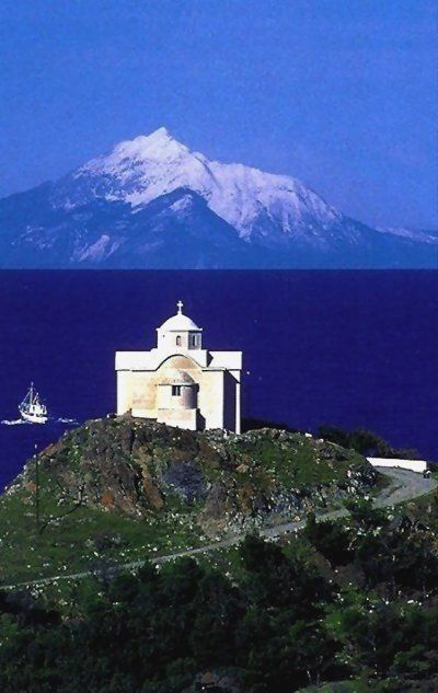 Mountain Athos, view from Lemnos island, Greece