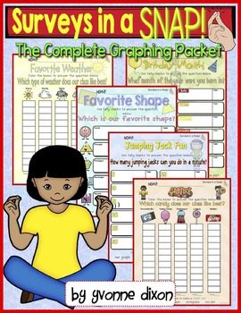 New!  Surveys in a Snap (The Complete Graphing Packet)!  This teaching resource is ready to use for survey fun and graphing for your own classroom! Students will enjoy reading and completing the survey questions then using the data collected to create and design four types of graphs:  bar graphs, picture graphs, pictographs, and line plots.
