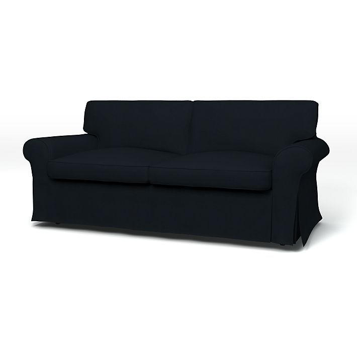 Ektorp, Sofa Covers, 2 Seater Sofa Bed, Regular Fit with piping using the fabric Panama Cotton Jet Black