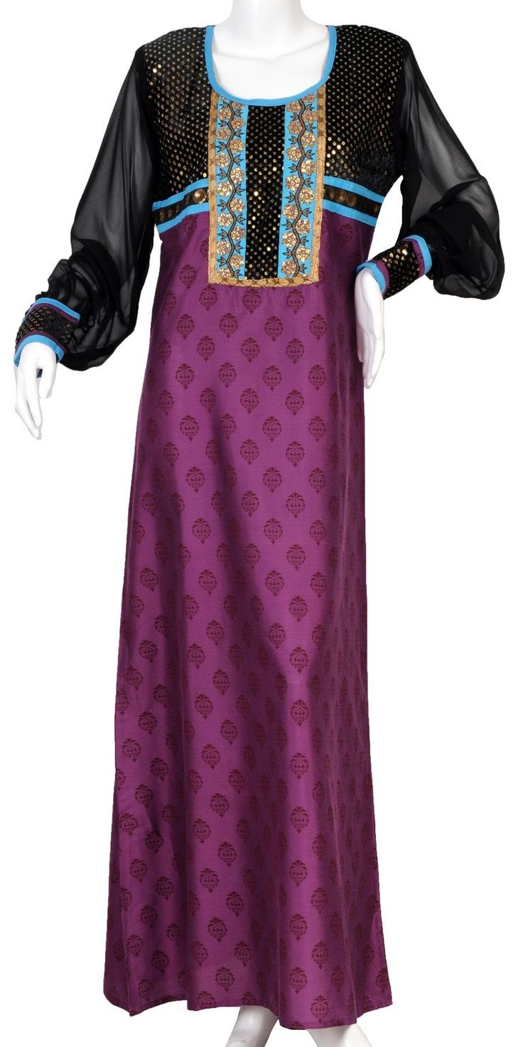 """aljalabiya.com: """"The Florence Kaftan"""" Cotton and polyester print jalabiya with chiffon arms and embroidery on chest (N-10486) $84.00"""