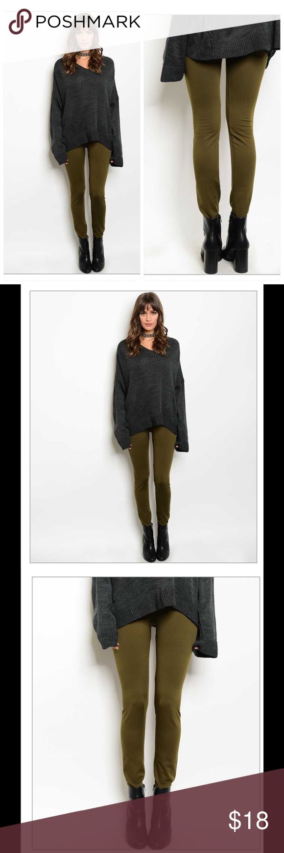 """NWT olive fleece leggings Beautiful olive fleece legging with a high waist for super comfort  Fabric Content: 92% NYLON 8% SPANDEX Size Scale: ONE SIZE  Description: L: 22"""" W: 37"""" I.S.: 26"""" Pants Leggings"""