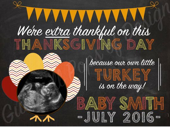 Thanksgiving Pregnancy Announcement by GumballPopsOfDesign on Etsy