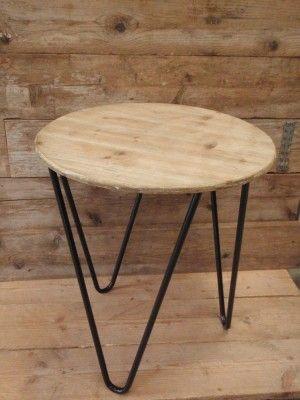 Bijzet tafel Amaro antique bruin naturel Ø 60 cm x 2 cm x 64 cm hoog