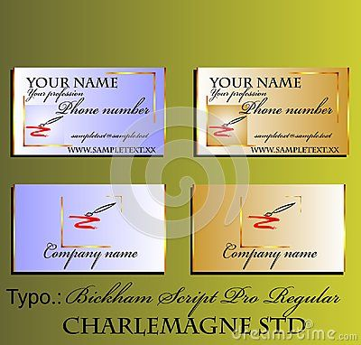 Decorative bright business card with brush. Vector illustration.