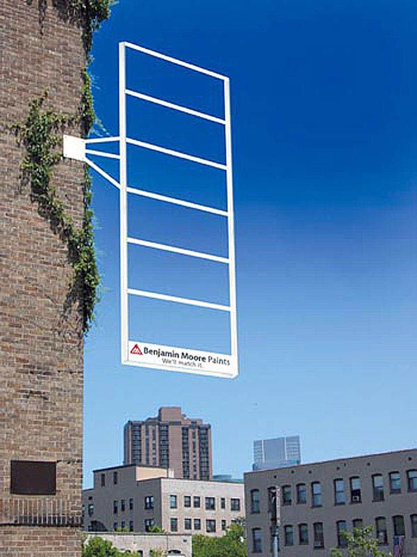 Clever signage from Benjamin Moore Paints connecting colour-matching with the visual environment.