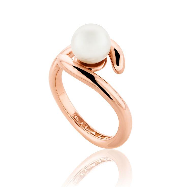 Δαχτυλίδι Pink Collection από ροζ επιχρυσωμένο ασήμι 925º με fresh water pearls