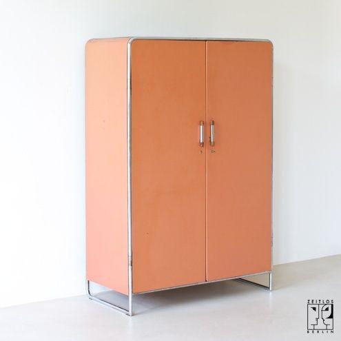Modernist tubular steel wardrobe in Bauhaus style by