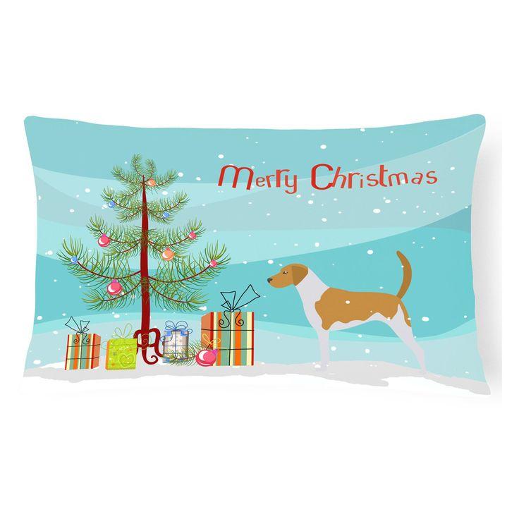 Carolines Treasures American Foxhound Merry Christmas Tree Rectangle Decorative Outdoor Pillow - BB2916PW1216