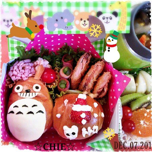 posted by @mayqoo0116 今日は#ロールパン#トトロ 弁当♪(*^^*) #秋鮭フライ #アスパラベーコン #タラモサラダ #ポトフ #お弁当#弁当#bento #obento #obentoart #obentobox…