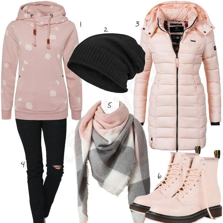 Outfit mit hellrosanem Steppmantel und Hoodie (w0784) #hoodie #mantel #schal #outfit #style #fashion #womensfashion #womensstyle #womenswear #clothing #frauenmode #damenmode #handtasche  #inspiration #frauenoutfit #damenoutfit