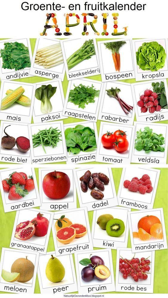Groente en Fruit Kalander voor April