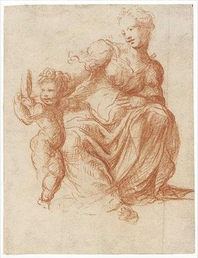 michelangelo drawing madonna and child 1525 - 680×886