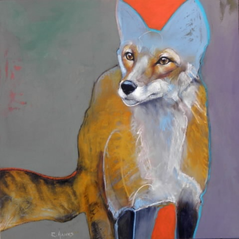 Foxy. By Rebecca Haines. Oil and wax pencil on board. Use of negative space to create interest