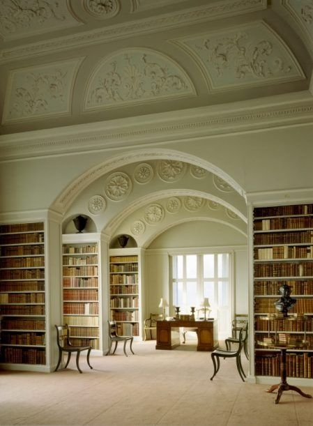 Book Room at Wimpole Hall, Cambridgeshire, England. Plasterwork in forground dates from the James Gibbs phase of the room; the elliptical arches by John Soane. National Trust Images/Andreas von Einsiedel