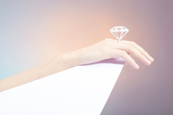 3D Printed Round Emerald Cut Diamond Shaped Ring  by Maison203, €25.00